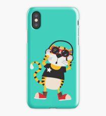Cartoon Animals Tiger Listening To Music iPhone Case/Skin