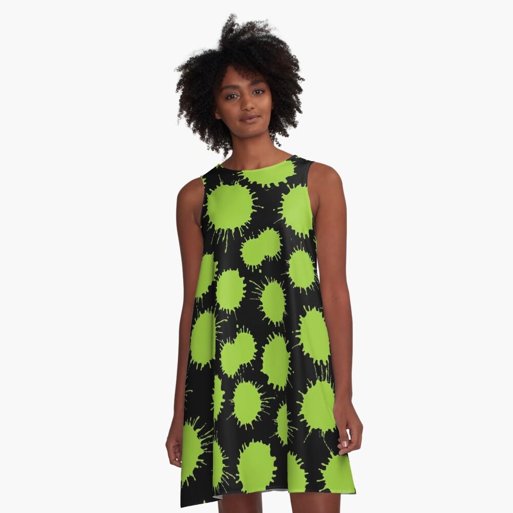 Inky Blots - Martian Green A-Line Dress Front