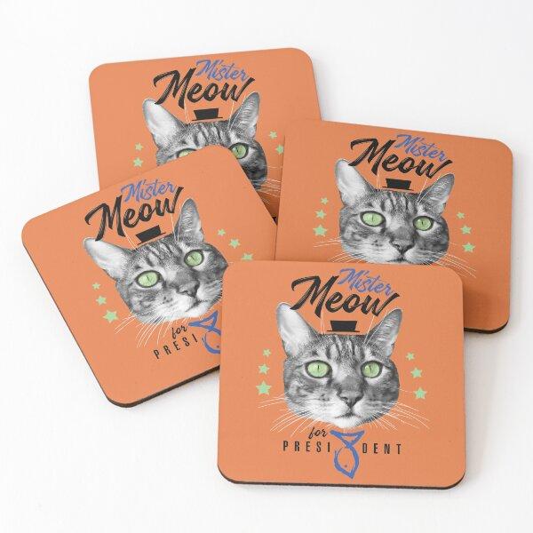 Mister Meow for president, chat en cravate avec chapeau, noir et blanc, fond orange Dessous de verre (lot de 4)