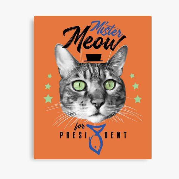Mister Meow for president, chat en cravate avec chapeau, noir et blanc, fond orange Impression sur toile