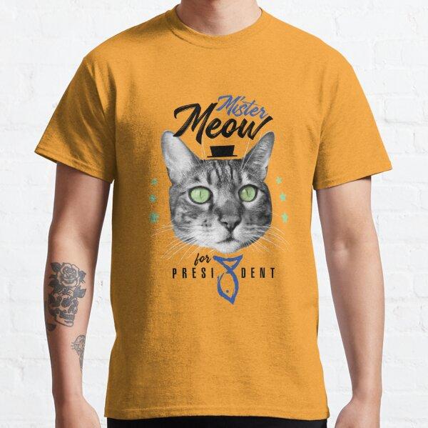 Mister Meow for president, chat en cravate avec chapeau, noir et blanc, fond orange T-shirt classique