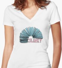 blue slinky toy Women's Fitted V-Neck T-Shirt