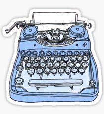 machine à écrire bleue rétro Sticker