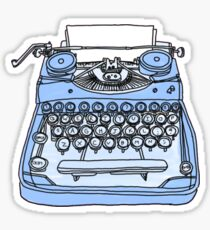 retro blue typewriter Sticker