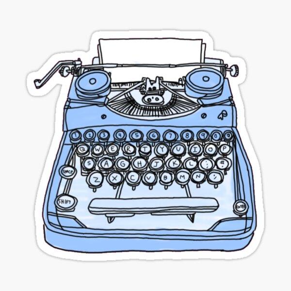 retro blue typewriter Sticker