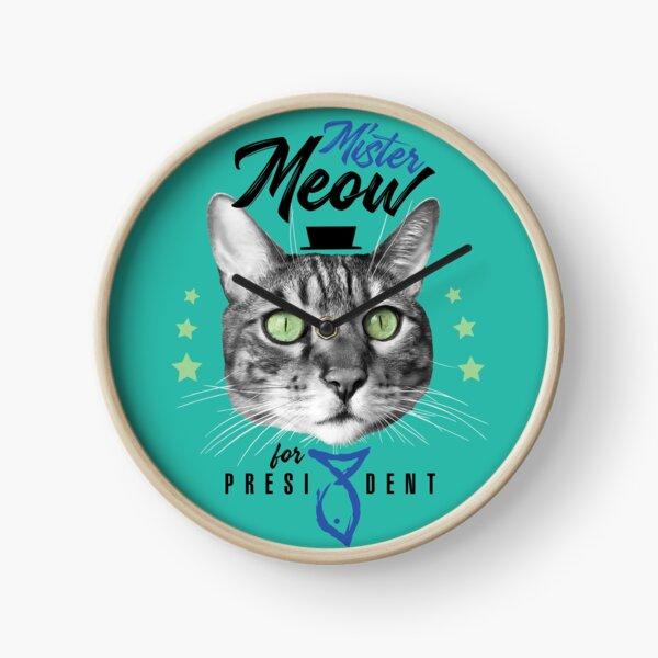 Mister Meow for president, chat en cravate avec chapeau, noir et blanc, fond turquoise Horloge