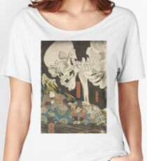 Utagawa Kuniyoshi - Mitsukuni And The Skeleton Spectermid 1840. Man portrait:  mask,  face,  man ,  samurai ,  hero,  costume,  kimono,  tattoos ,  sport, skeleton, macho Women's Relaxed Fit T-Shirt