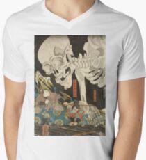 Utagawa Kuniyoshi - Mitsukuni And The Skeleton Spectermid 1840. Man portrait:  mask,  face,  man ,  samurai ,  hero,  costume,  kimono,  tattoos ,  sport, skeleton, macho T-Shirt