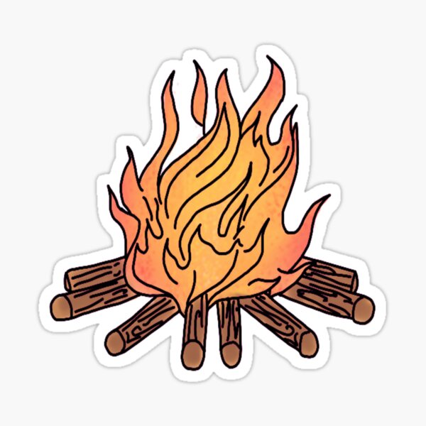 burning camp fire Sticker