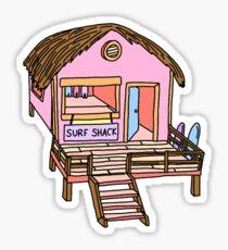 pink surf shack Sticker