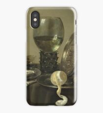 Willem Claesz Heda - Still Life With Oysters, A Rummer, A Lemon And A Silver Bowl . Still life with fruits and vegetables: Lemon, glass of wine, tasty, gastronomy food, flowers, dish, cooking, kitchen iPhone Case/Skin