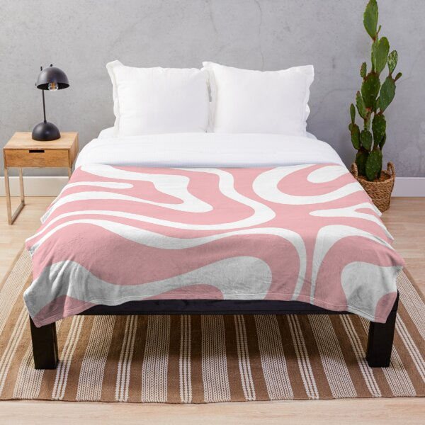 Retro Modern Liquid Swirl Abstract Pattern Square in Blush Pink and White Throw Blanket