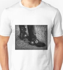 Black Boots & Silver Spurs ~ Black & White T-Shirt