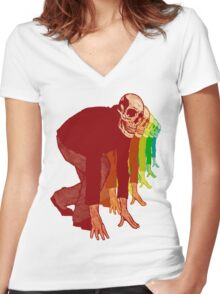 Racing Rainbow Skeletons Women's Fitted V-Neck T-Shirt
