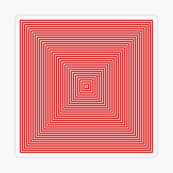 Nested concentric red squares Transparent Sticker