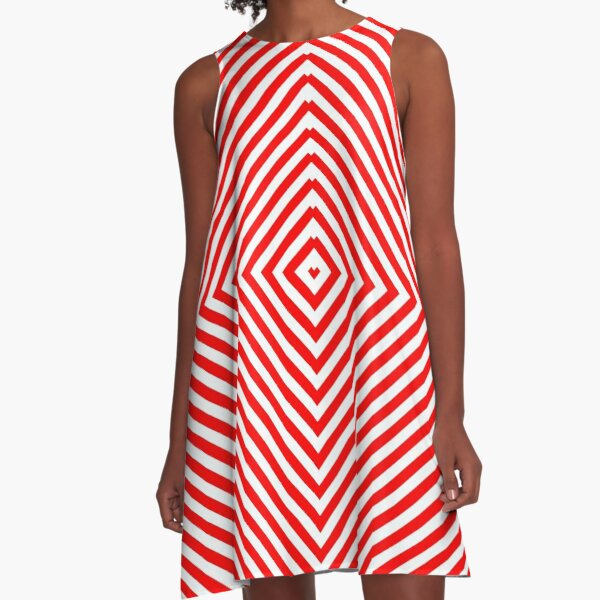 Nested concentric red squares A-Line Dress