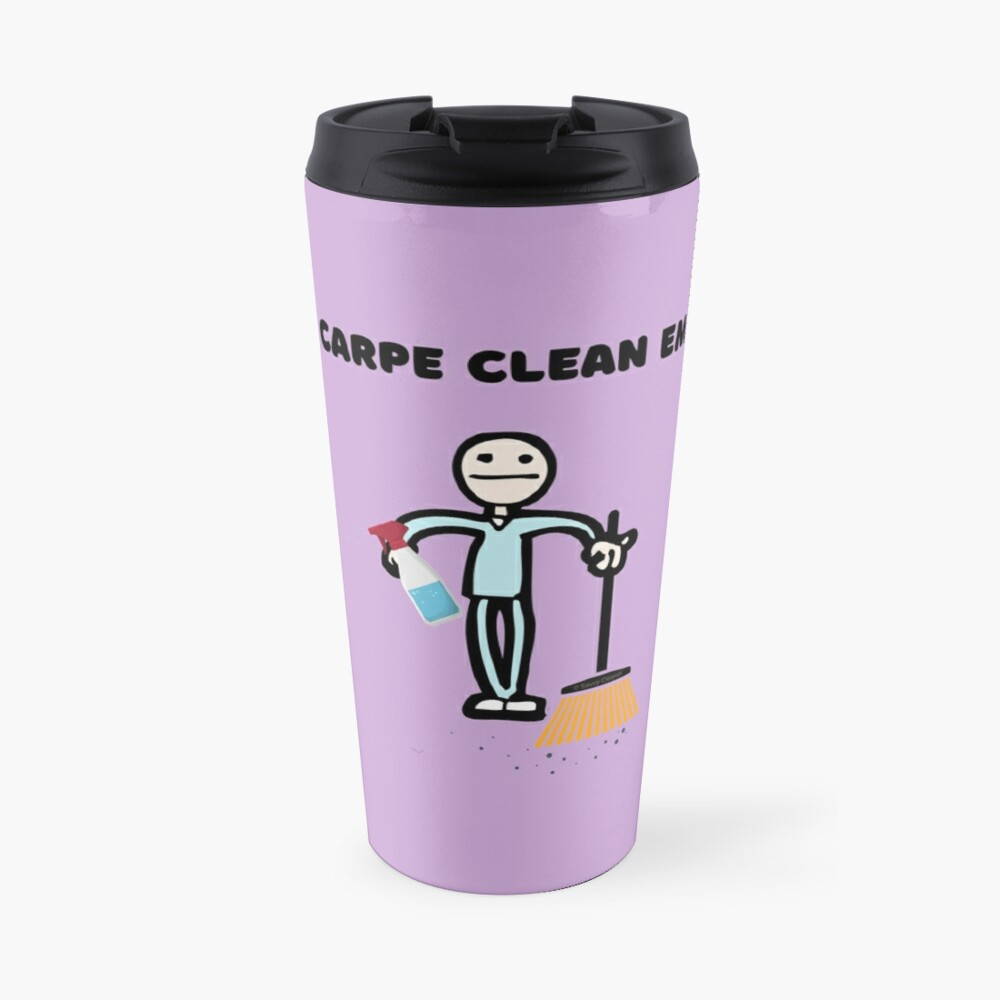 Carpe Clean em Spray Bottle Broom Cleaning Gifts Travel Mug