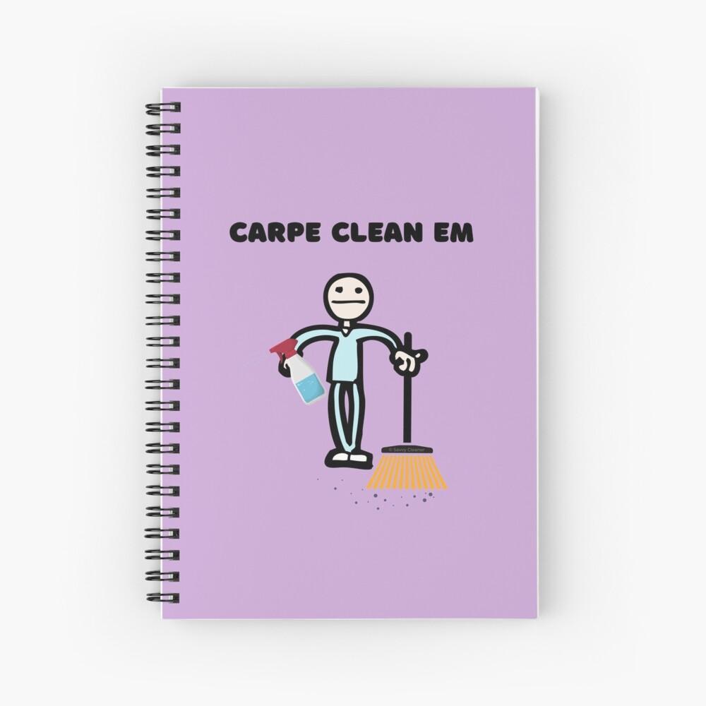Carpe Clean em Spray Bottle Broom Cleaning Gifts Spiral Notebook