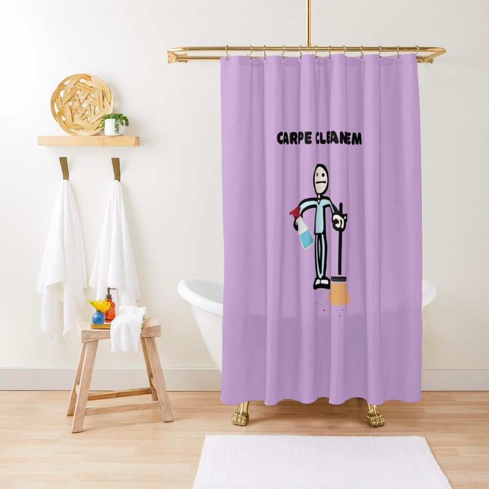 Carpe Clean em Spray Bottle Broom Cleaning Gifts Shower Curtain