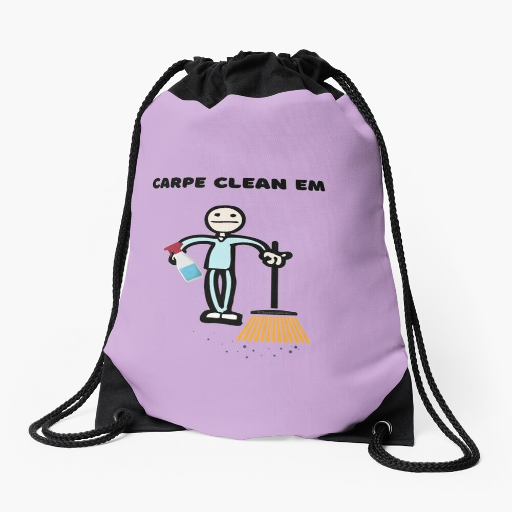 Carpe Clean em Spray Bottle Broom Cleaning Gifts Drawstring Bag