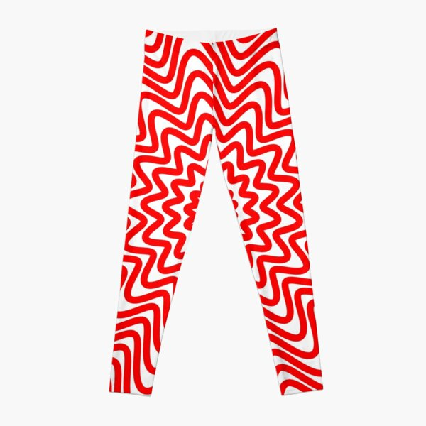 Red wavy spiral Leggings