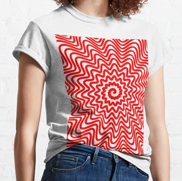 Red wavy spiral Classic T-Shirt