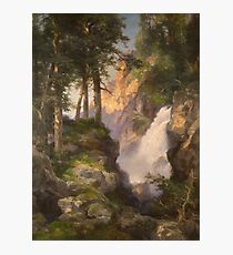 Thomas Moran - Falls At Toltec Gorge. Mountains landscape: mountains, rocks, rocky nature, sky and clouds, trees, peak, forest, Canyon, hill, travel, hillside Photographic Print
