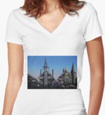Witches' Houses, Johnston St, Annandale Women's Fitted V-Neck T-Shirt