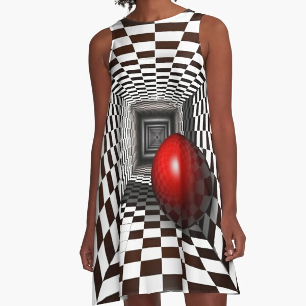 Black and White Square Illusion. Chess Tunnel with a Red Ball A-Line Dress