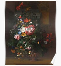 Rachel Ruysch - Roses, Convolvulus, Poppies, And Other Flowers In An Urn On A Stone Ledge. Still life with flowers:  bouquet, bumblebee , carnations, peonies, tulips,  marigolds,  garden, blossom Poster