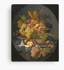 Severin Roesen - Still Life With Fruit 1855. Still life with fruits and vegetables: strawberries , champagne,, lemon , grapes , cherries, peaches, apples, pears, apricots, raspberries, vase Canvas Print