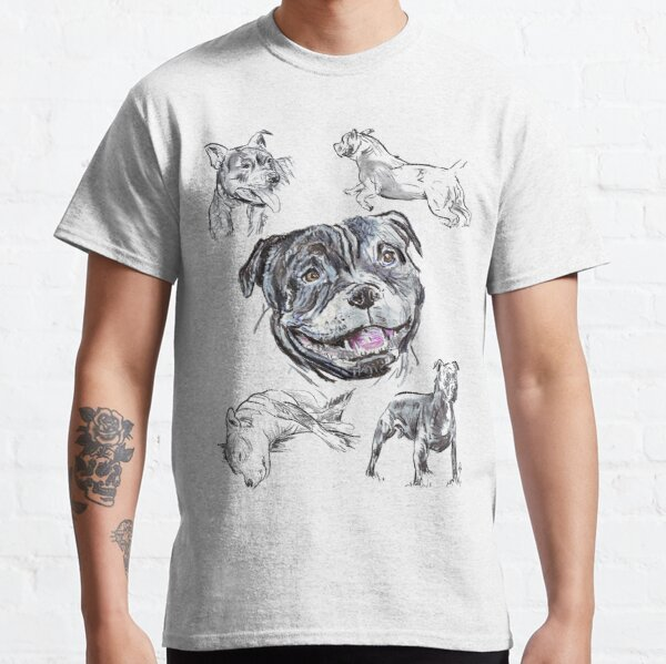 Mixed Media - Staffordshire Bull Terriers Classic T-Shirt