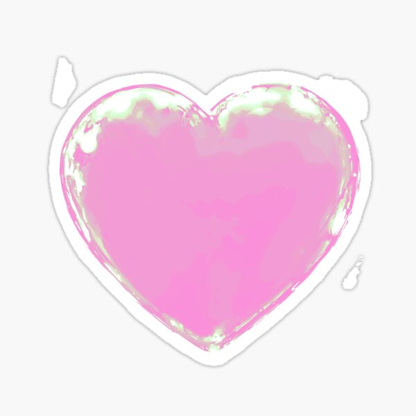 Black Heart ~ PAstel Core Pink Edit Sticker