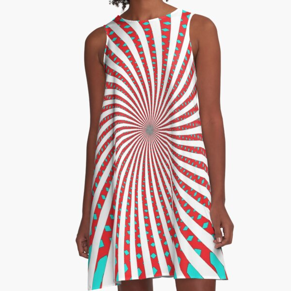 #MOVING #EYE #ILLUSION #Pattern, design, circular, abstract, illustration, art A-Line Dress