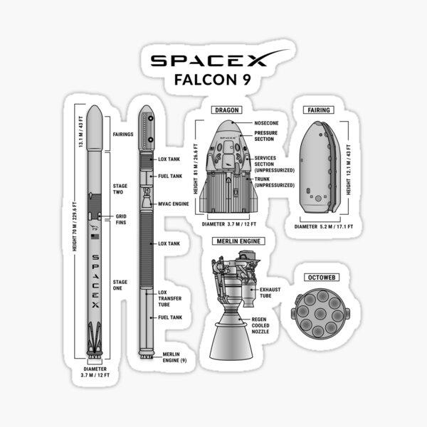 Falcon 9 Blueprint Sticker