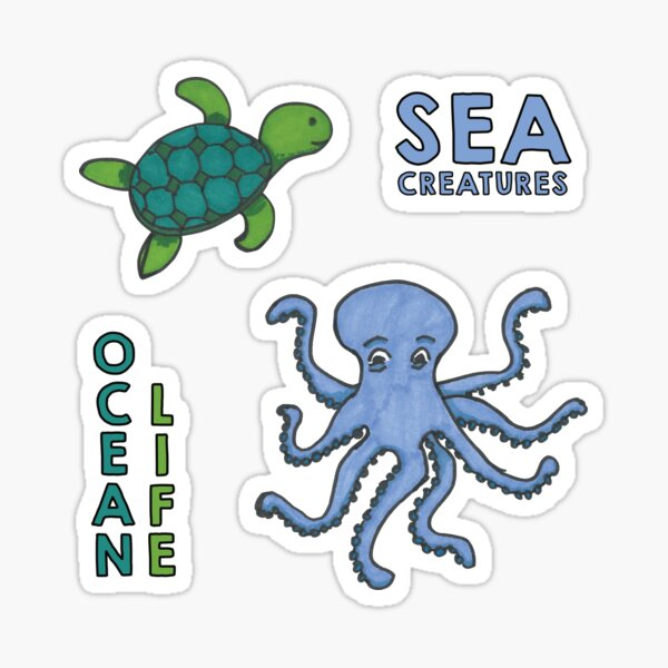 Blue and Green sea creatures sticker pack Sticker