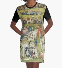 Hieronymus Bosch - The Garden Of Earthly Delights Art Fragment Painting: eden, hell, beauty, adam, retro animals, birds, cool love, trendy gift, celebration, vintage monster, doodle, birthday, fantasy Graphic T-Shirt Dress