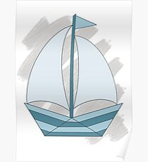 paper sailing boat, yacht Poster