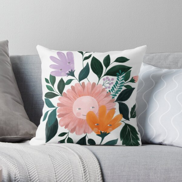 Spring flowers illustration in pink, orange and lilac Throw Pillow