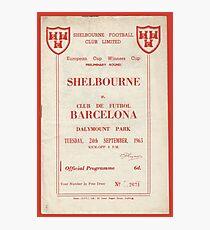 SHELBOURNE VS BARCELONA - PROGRAMME COVER  Photographic Print