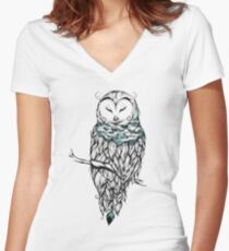 Poetic Snow Owl  Women's Fitted V-Neck T-Shirt