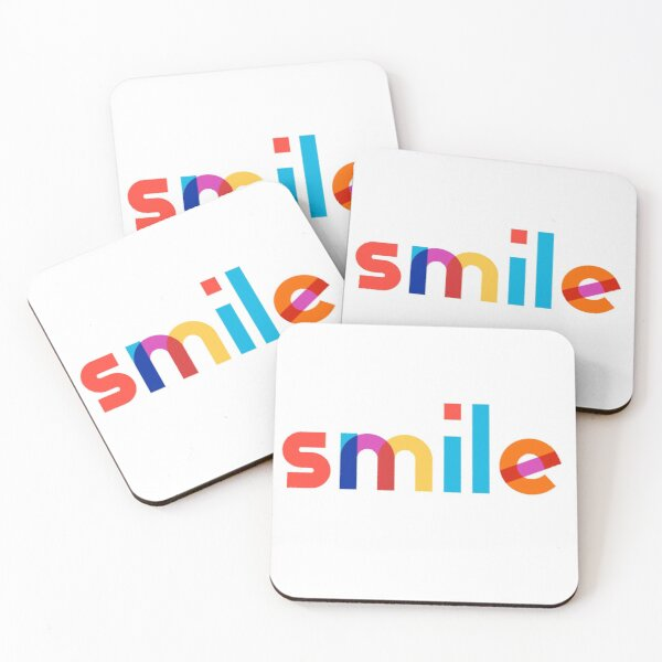 Colorful smile word Coasters (Set of 4)