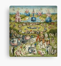 Hieronymus Bosch - The Garden Of Earthly Delights Art Fragment Painting: eden, hell, beauty, adam, retro animals, birds, cool love, trendy gift, celebration, vintage monster, doodle, birthday, fantasy Canvas Print