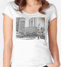 Sunny Day Cityscape Streetscape Women's Fitted Scoop T-Shirt