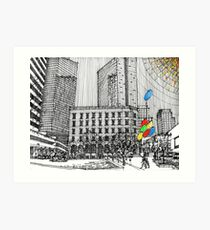 Sunny Day Cityscape Streetscape Art Print