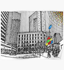 Sunny Day Cityscape Streetscape Poster