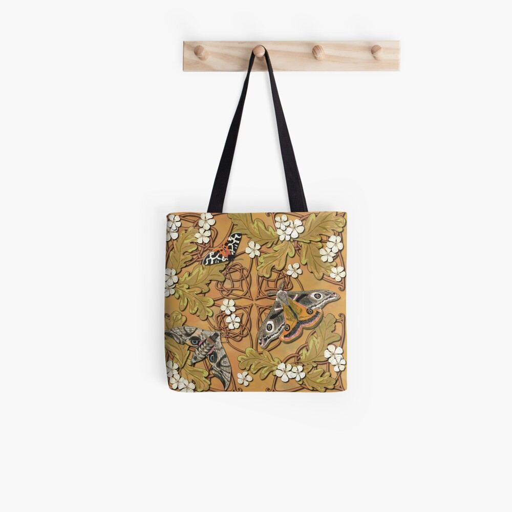Celtic Moths with Leaves and Flowers Tote Bag