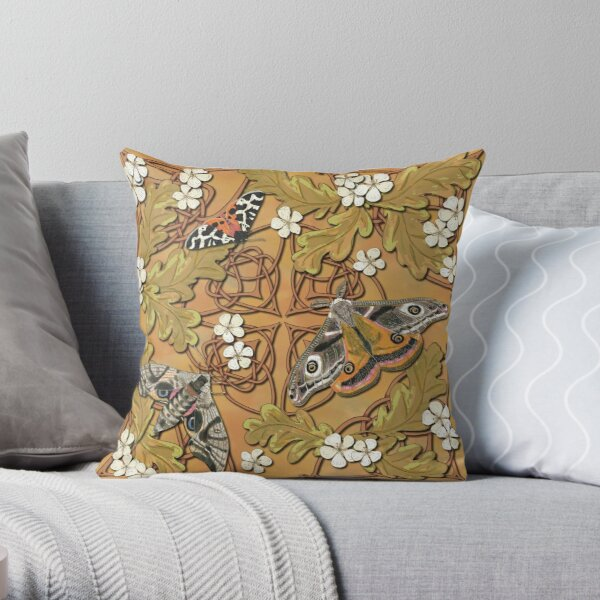 Celtic Moths with Leaves and Flowers Throw Pillow
