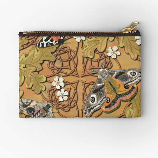 Celtic Moths with Leaves and Flowers Zipper Pouch