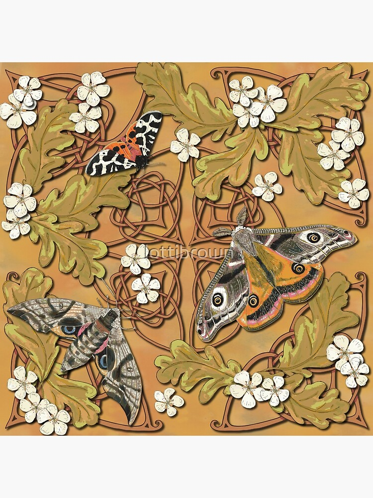 Celtic Moths with Leaves and Flowers by lottibrown